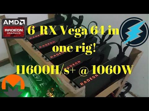 6 RX Vega 64 Mining Rig 11.6Kh/s+ @ 1060W Moded Registry