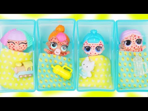 LOL Surprise Dolls + Lil Sisters get Chicken Pox at Doctor Baby Hospital - Toy Mystery Fizzy Video