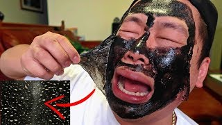 PAINFUL BLACKHEADS PEEL OFF MASK CHALLENGE!!! (INSTANT RESULTS)