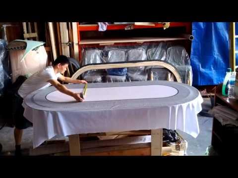 Poker table cloth installation