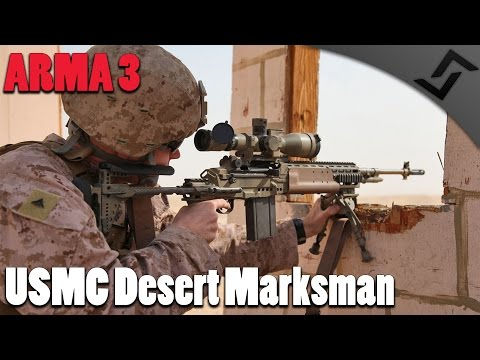 ARMA 3 - USMC Desert Marksman - RHS M14 EBR DMR Gameplay