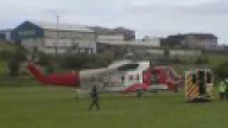 Irish Search and rescue coast guard helicopter lands in  newry co down bessbrook camlough S61N
