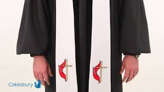 White United Methodist Liberty With Gold Braid Stole