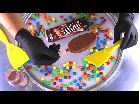 Ice Cream Rolls | how to make colorful roll m&m's Chocolate Popsicle Ice Cream with mms m and m ASMR