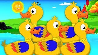 lima bebek kecil | lagu sajak | anak-anak berima | Five Little Ducks | Rhymes For Children