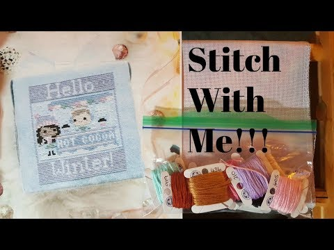 Flosstube #193 Stitch With Me ~ Frosted Pumpkin Stitchery Hello Winter!!!
