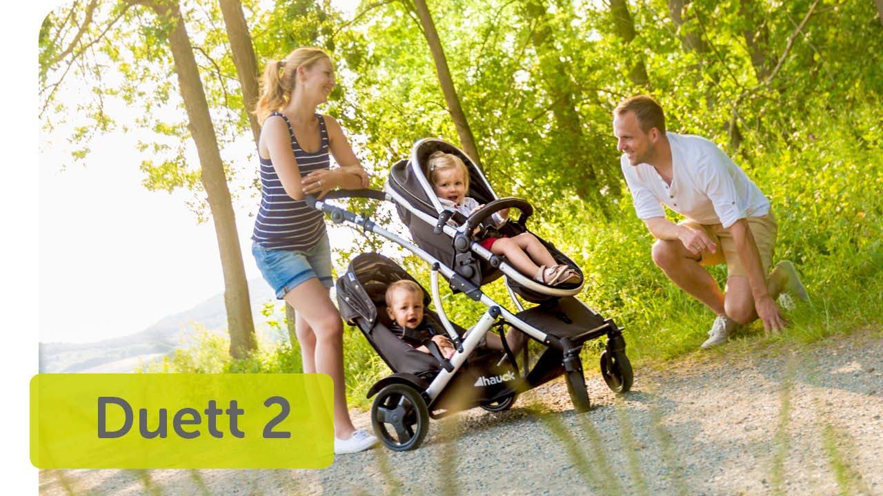 Hauck Duett 3 carro hasta 36 kg convertible y asiento giratorio gris con cubierta de lluvia gemelar con capazo para recien nacido manillar ajustable en altura segundo asiento extra/íble