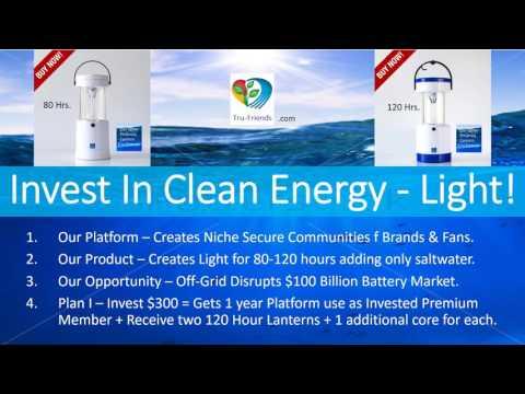 Tru Friends Focused On Clean Energy -  Light Powered By Salt Water