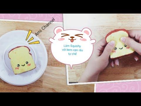 Thử làm Squishy Bánh mì từ kem cạo râu tự chế / DIY Kawaii TOAST SQUISHY / Ami Channel