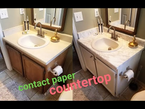 DIY Marble Contact Paper over Formica Bathroom Countertop