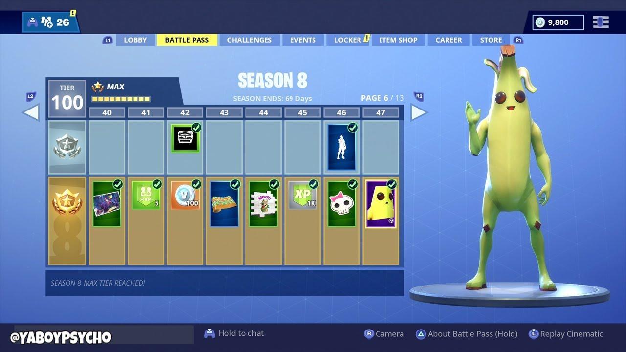 spending 13 950 v bucks on all 100 tiers in season 8 battle pass tier 100 luxe skin season 8 - fortnite season 8 battle pass bundle cost