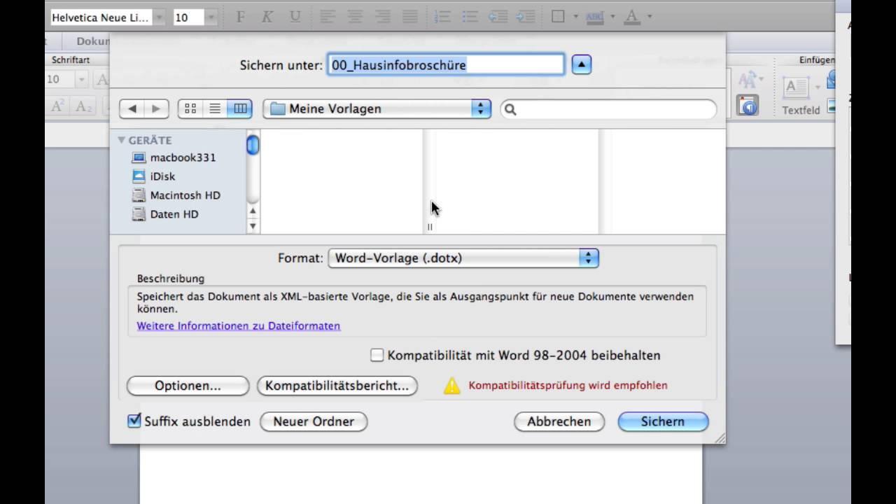 Kurs Microsoft Word 2011 Mac 083 Formatvorlagen Vorlage Erstellen