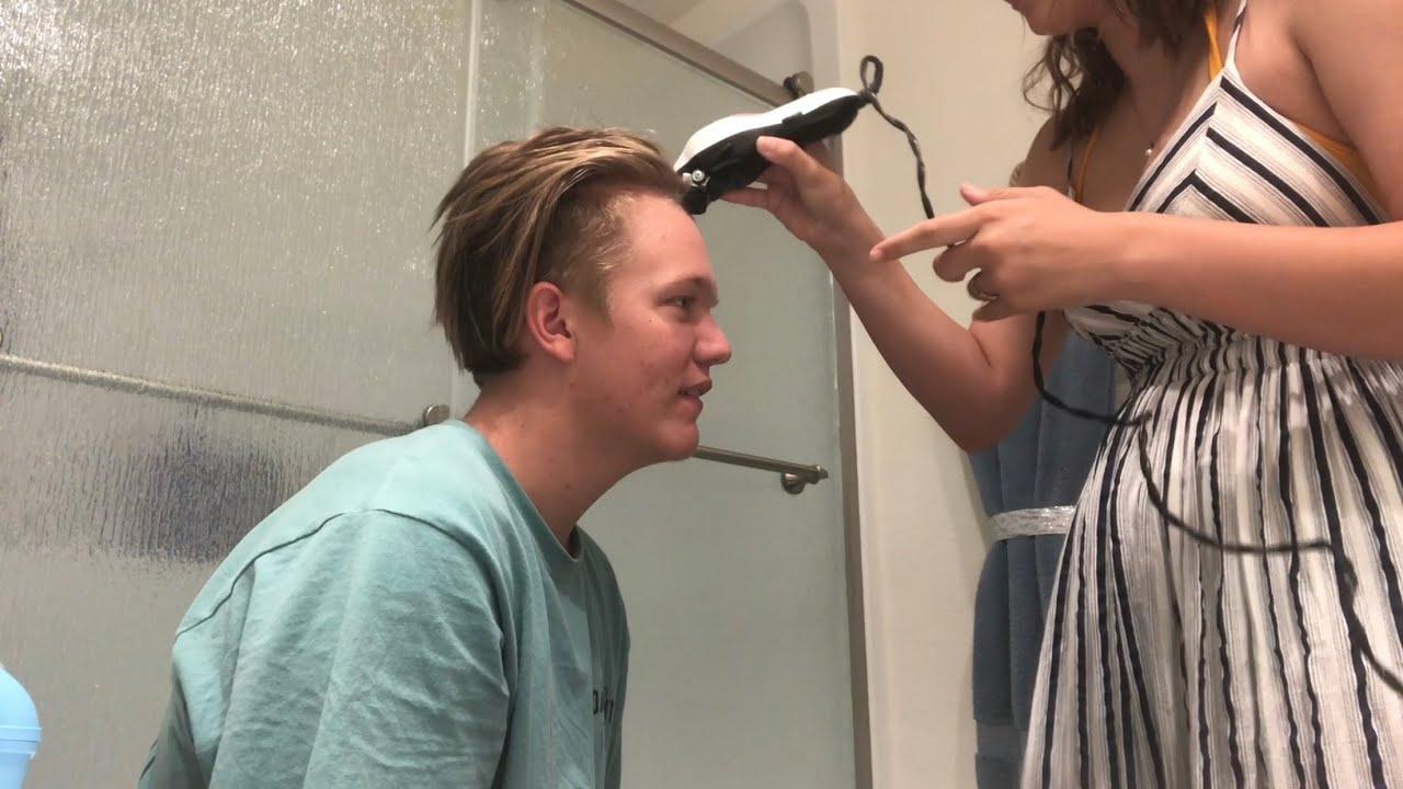 Shaving my boyfriends head - YouTube