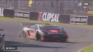 Australian GT Championship 2017. Race 2 Adelaide Street Circuit. Justin McMillan Crash