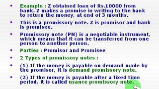Promissory notes and Bills of Exchanges