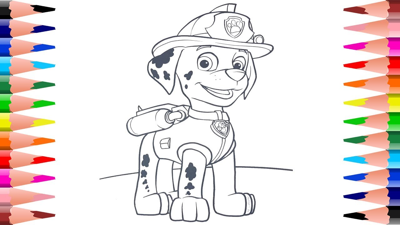Painting Marshall - Coloring Paw Patrol Coloring Pages with Marshall ...