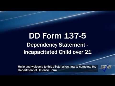 Incapacitated Child DD Form 137-5