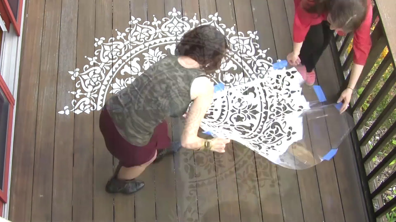 How To Stencil A Deck Or Floor Using A Mandala Stencil