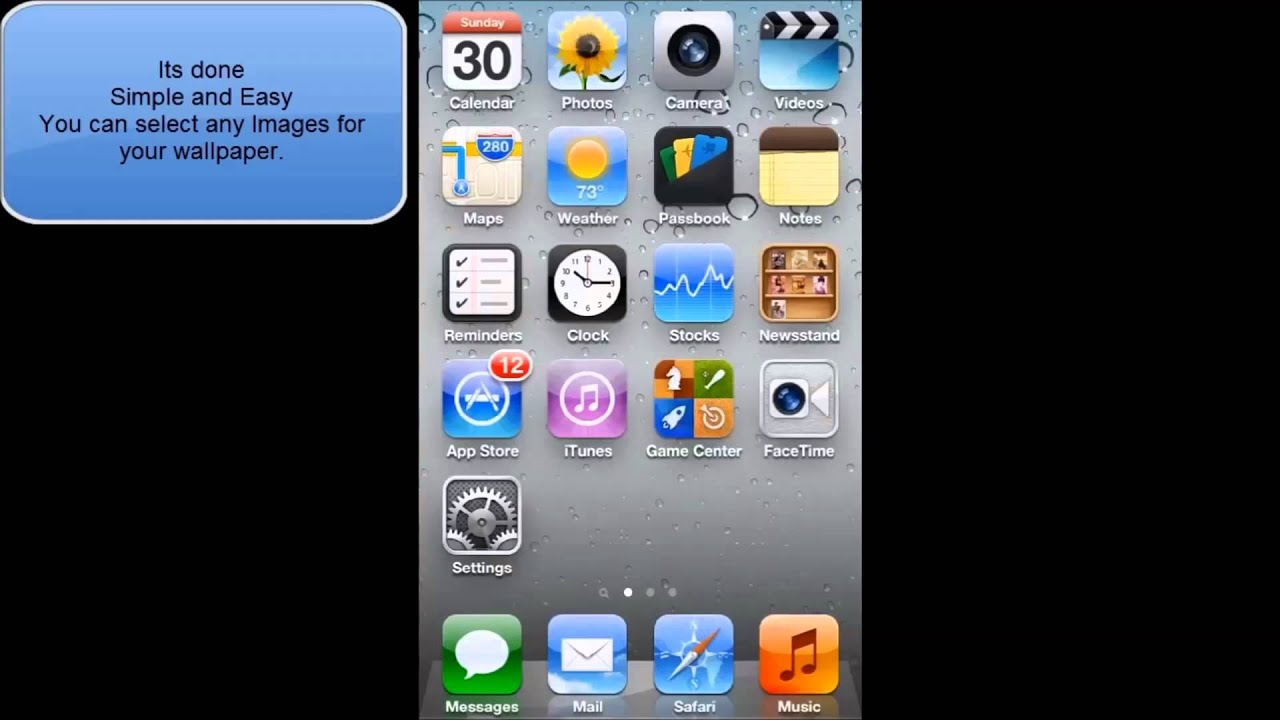HOW TO CHANGE WALLPAPER IN IOS 6 IPHONE 5 IPOD TOUCH