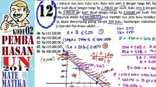 un sma 2017 matematika IPA ,pembahasan no 12, keuntungan maksimal