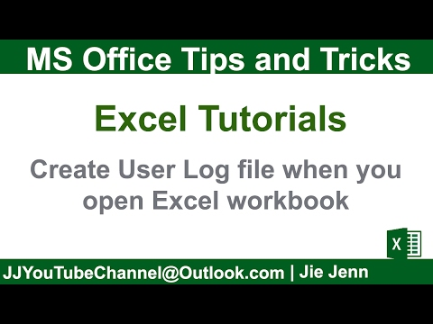 Create an User Log file when you open Excel workbook | Excel VBA Tutorial