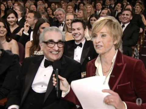 Ellen DeGeneres talks to Martin Scorsese in the audience