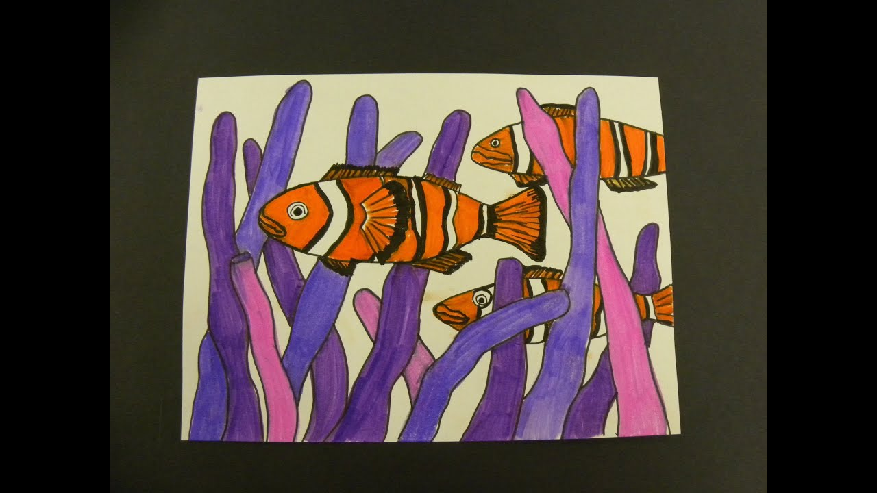 Kids Can Draw: Clown Fish in Sea Anemones - YouTube