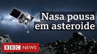 Nasa pousa sonda no asteroide Bennu, que é ameaça para a Terra