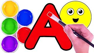 Kids Learn Colors ABCs With Watercolor Paint ABC Songs For Children Teach Fun Colours Rhymes