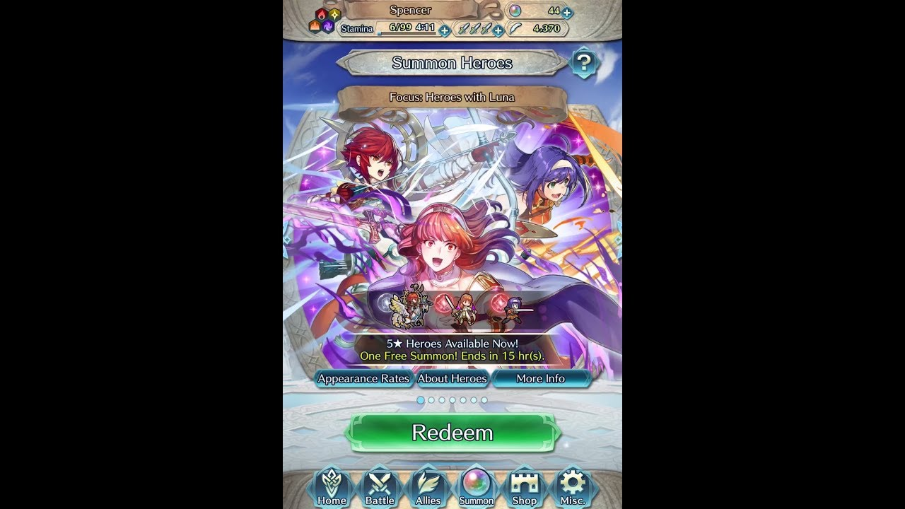 Fire Emblem: Heroes Summon #354: Focus: Heroes with Luna: Free Summon