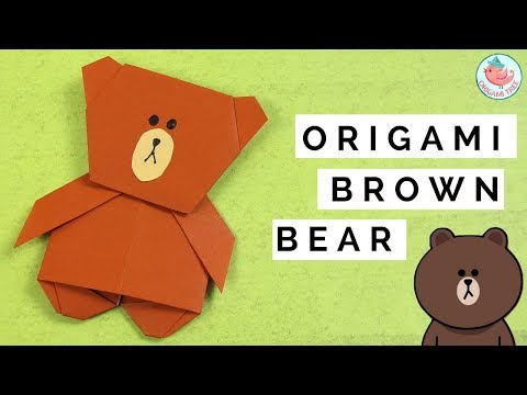 Origami LINE Sticker - Origami Brown the Bear - Paper Crafts for Kids Origami Tutorial