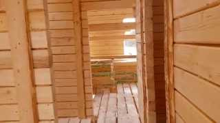 Дом из бруса 6 на 8 (6х8)(Строительство дома из строганного бруса размером 6 на 8 в деревне Дорогино (Уфа). Дом строили под ключ с комму..., 2014-04-03T19:12:12.000Z)