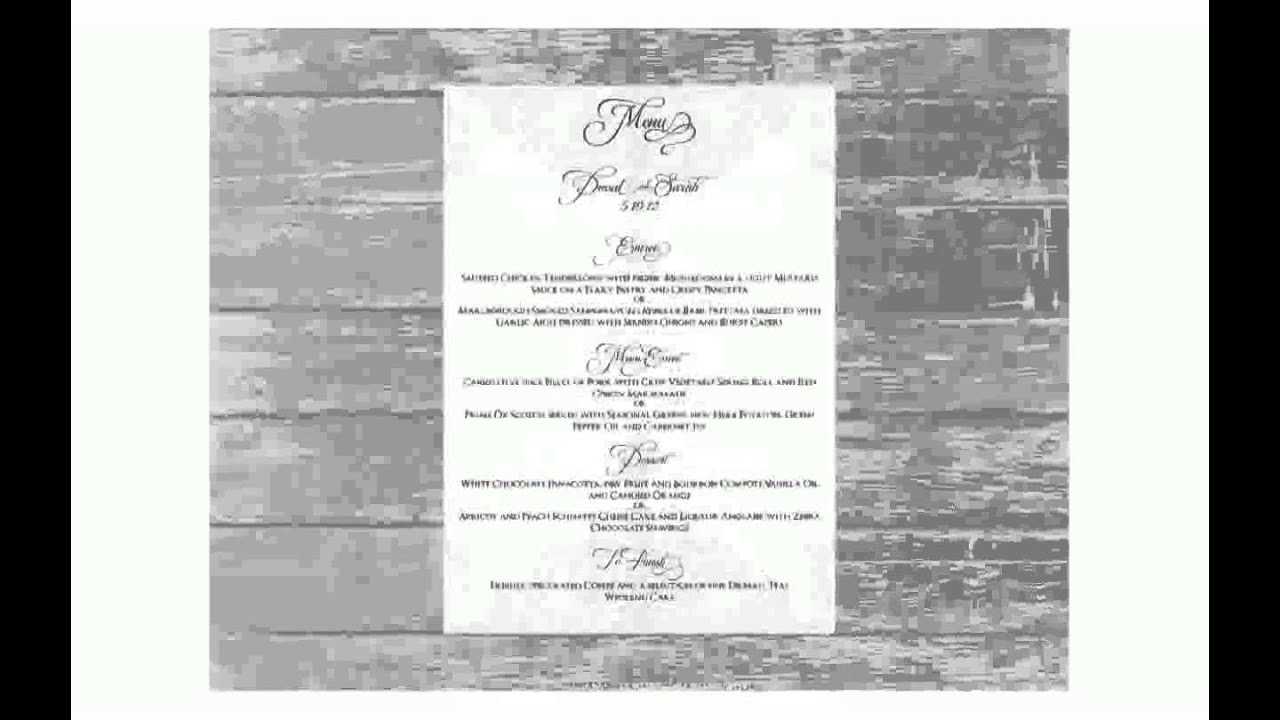Wedding Reception Menu Template - YouTube