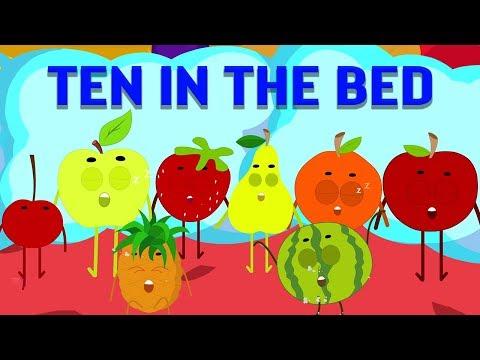 sepuluh di tempat tidur   lagu anak-anak   sajak anak-anak   Ten In The Bed   Rhymes For Kids