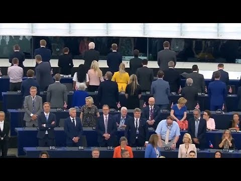 Brexit Party MEPs turn their back against European Parliament during anthem