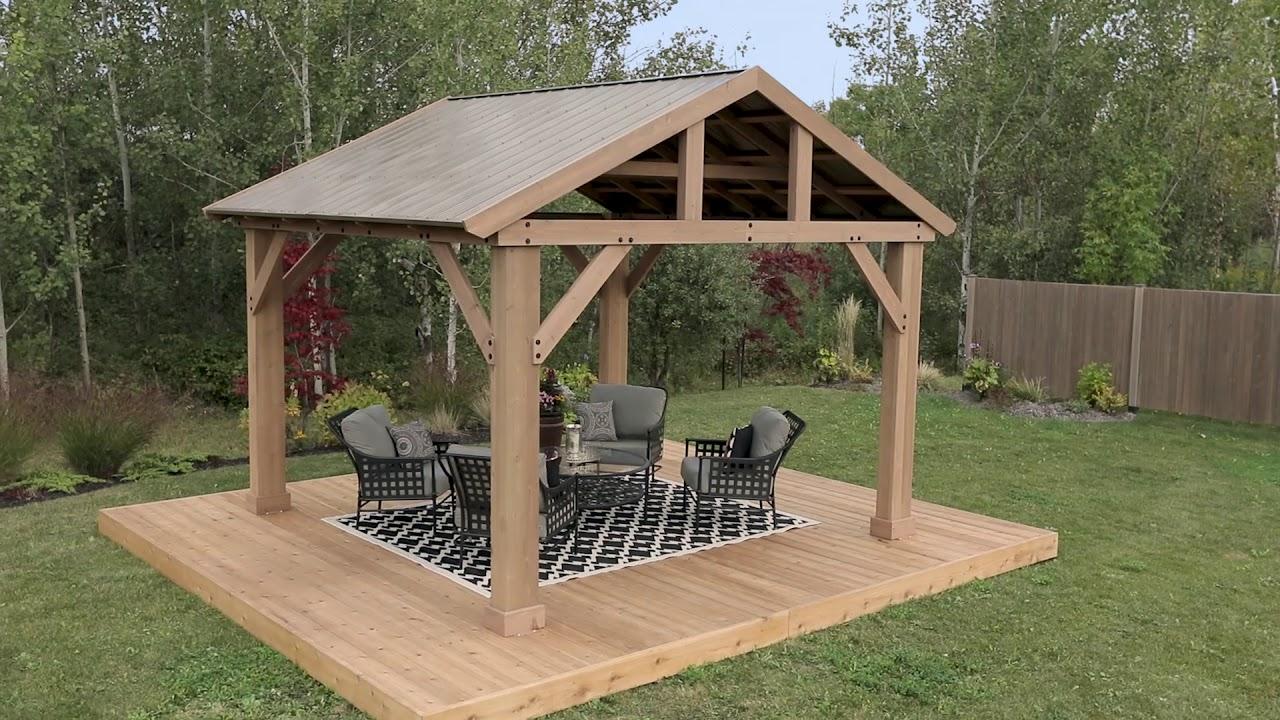 14x12 Wood Pavilion With Aluminum Roof - YouTube on Yardistry Backyard Pavilion id=96410