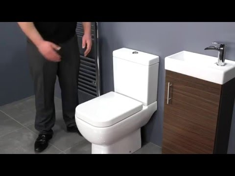 Walnut Vanity Unit & Space Saving Toilet for Small Bathrooms
