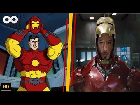 Iron man cartoon vs movie with suit up scenes avengers - Iron man cartoon hd ...