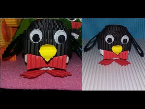 DIY pinguin from corrugated paper / kokoru paper