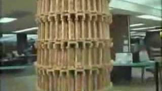 Stupid reporter knocks down Jenga Tower thumbnail