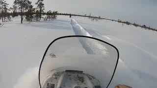 Снегоход БУРАН в глубоком снегу