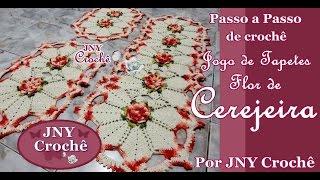 Jogo de tapete de crochê Flor de Cerejeira por JNY Crochê