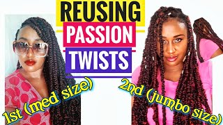 Passion twist rubber band method || Reusing DIYed passion twist ft @Darling Nigeria   hair