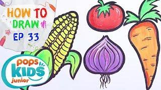 Sắc Màu Tuổi Thơ - Tập 33 - Bé Tập Vẽ Rau Củ Và Hoa Quả | How To Draw Fruits And Vegetables