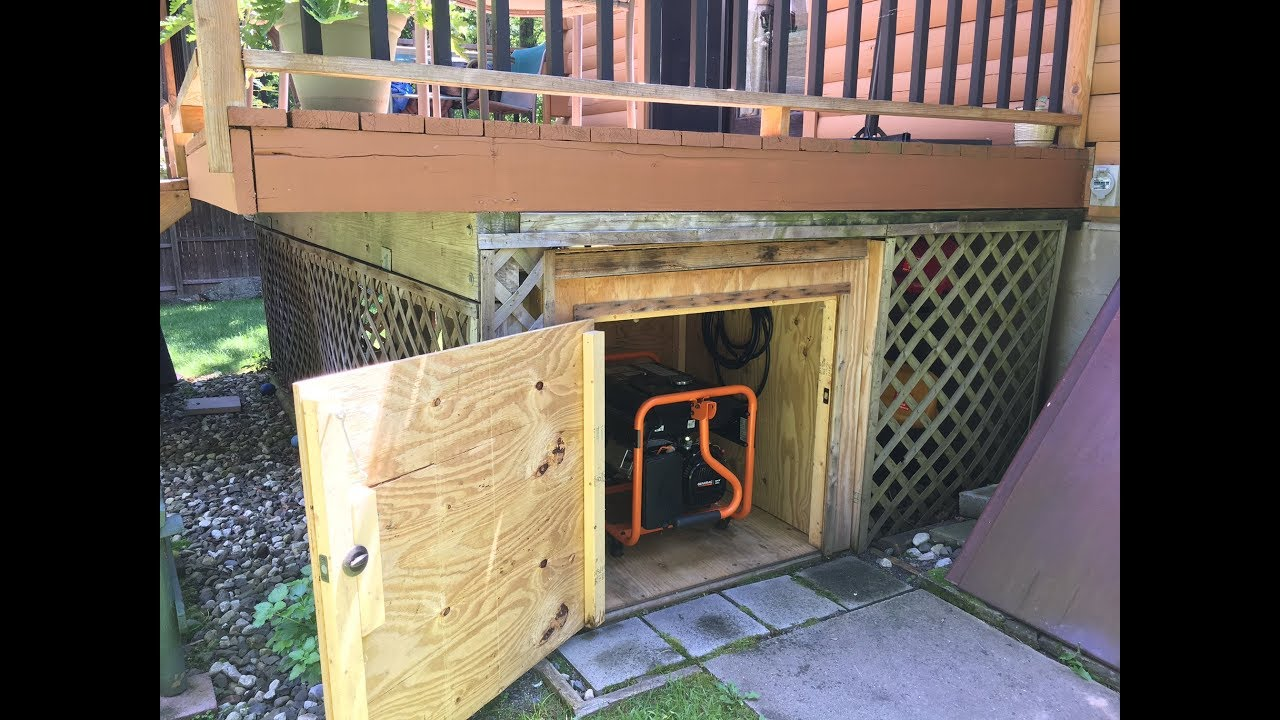 How to make a Generator Shed  DIY Generator Storage Box under the deck