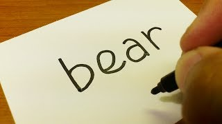 Very Easy ! How to turn words BEAR into a Cartoon for kids -  Drawing doodle art on paper