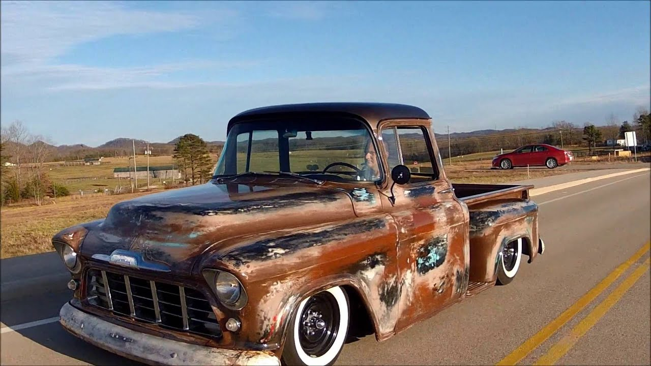 "1957 Gmc Truck For Sale Craigslist >> ""Oil Slick"" Teaser 1956 Slammed Chevy Pickup Shop Truck Patina Hot Rod - YouTube"