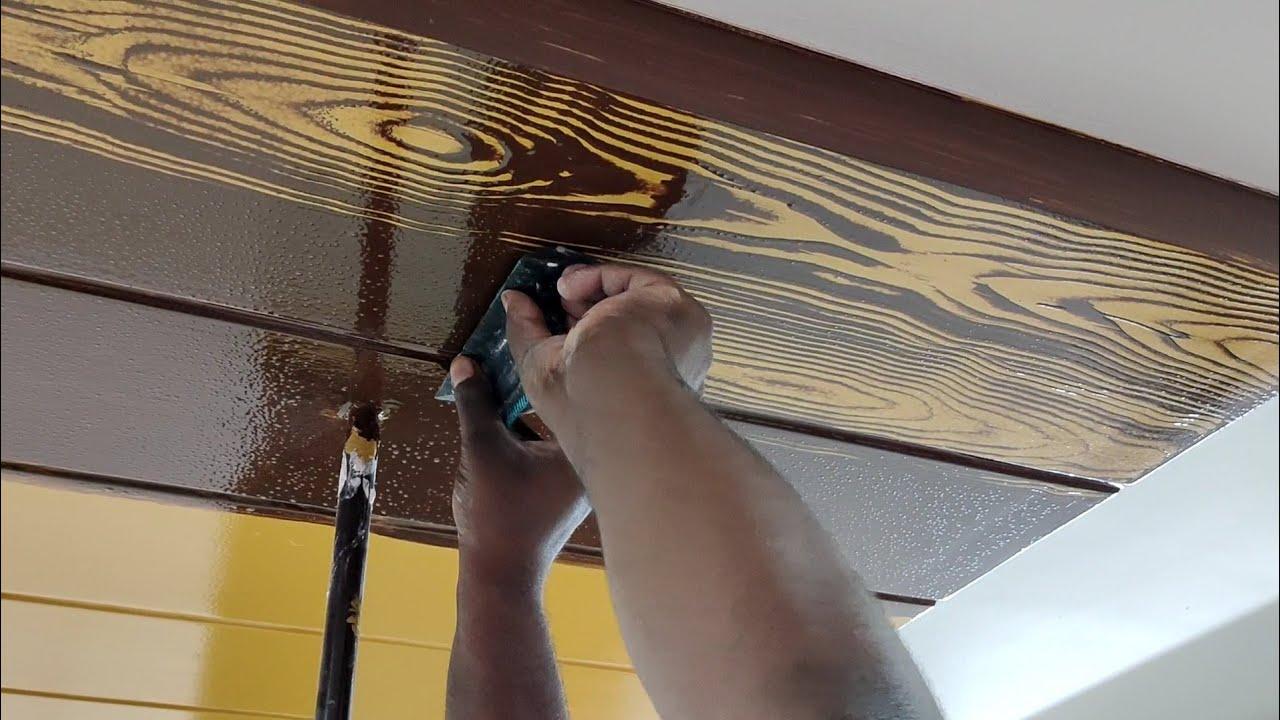 false ceiling wooden type design making enamel paint