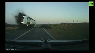 Car flight caught on dashcam in Russia