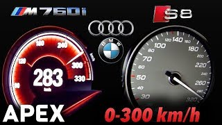2018 Audi S8 Plus vs. BMW M760Li - Acceleration Sound 0-100, 0-300 km/h   APEX